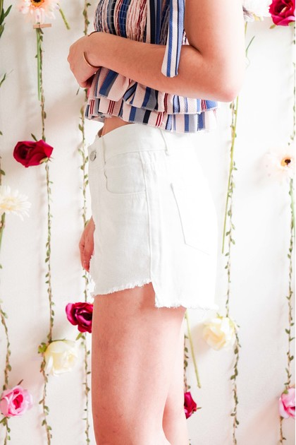 Phone Me Denim Shorts in White