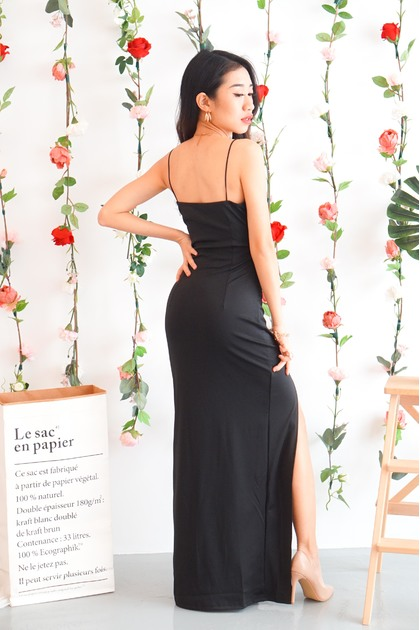 SLAY Maxi Dress with Slit in Black