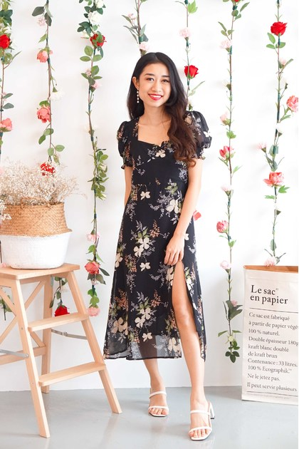 Eiffel For You Floral Dress in Black