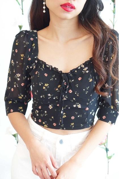 Flirty Heart Floral Blouse in Black