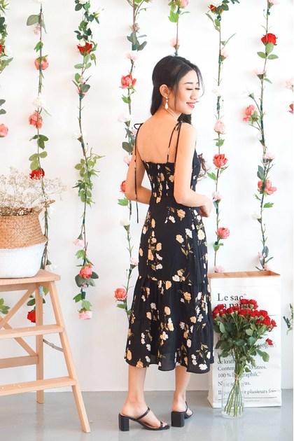 Goddess Like You Floral Self Tied Dress in Black