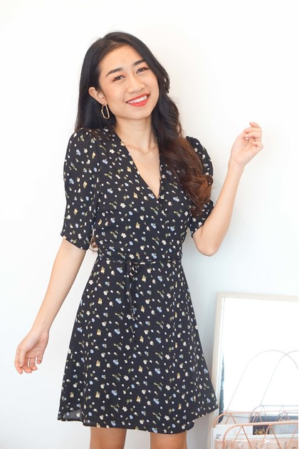 Girly Days Floral Self Wrap Dress in Black