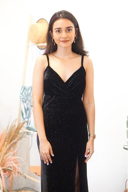 Lady of the Night Velvet Maxi Dress in Black