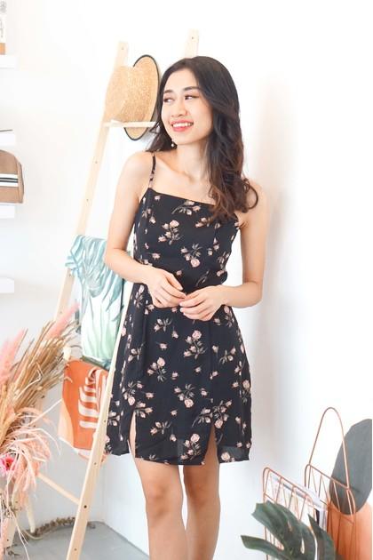 Rewrite our Love Floral Mini Dress in Black