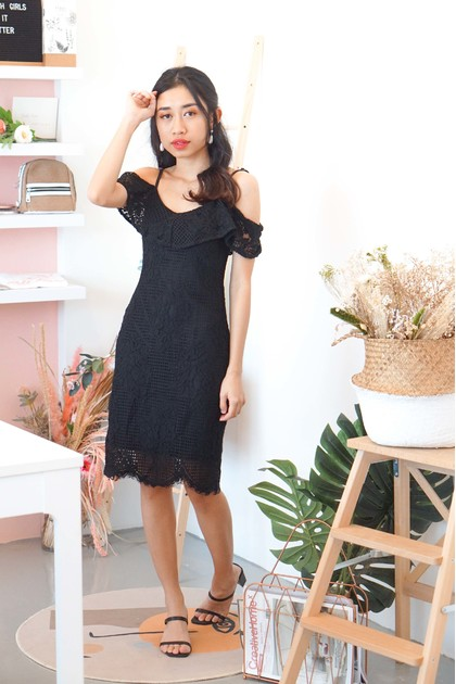 Wild Bluebell Lace Dress in Black