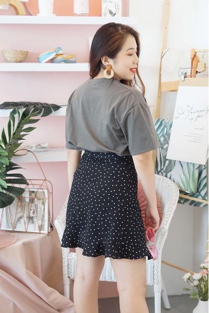 Cheeky Call Mini Polkadot Skirt in Black