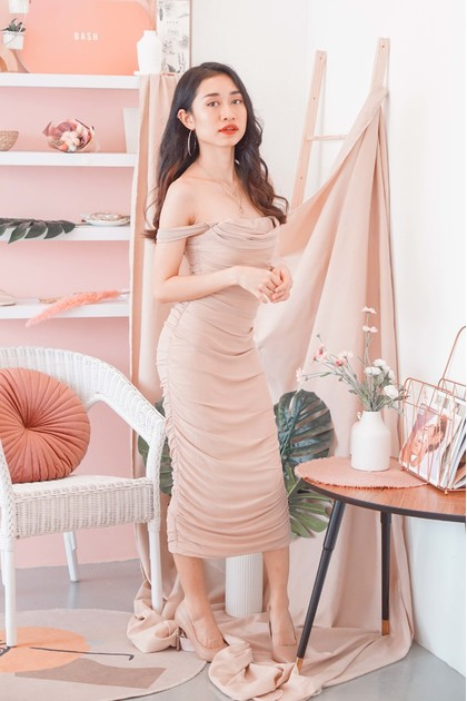 Glam For Me Off Shoulder Dress in Nude