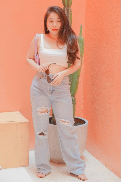 Fashion Forward Ripped Wide Legged Jeans