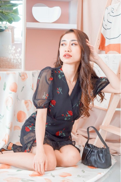 Every Moment Counts Floral Dress in Black