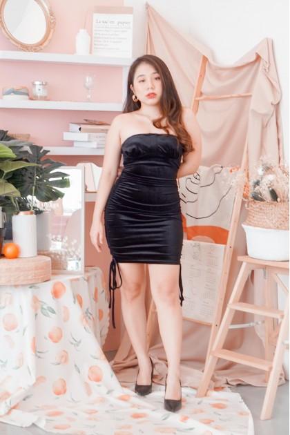 Rebounds Only Velvet Tube Dress in Black