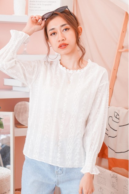 Coffee For Your Head Crochet Lace Top in White
