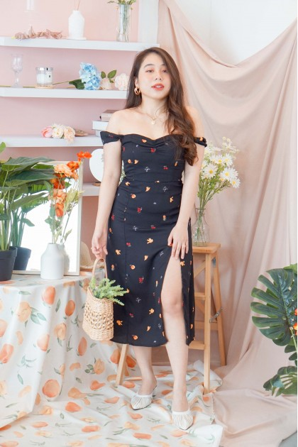 Love Conquers Floral Dress in Black
