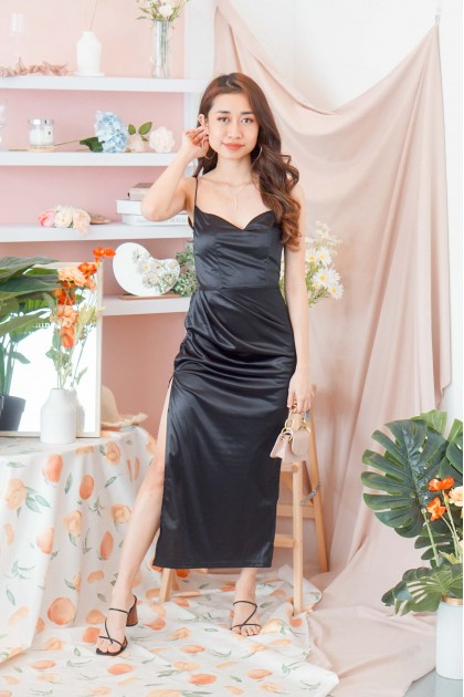 Over The Moon Satin Slit Dress in Black