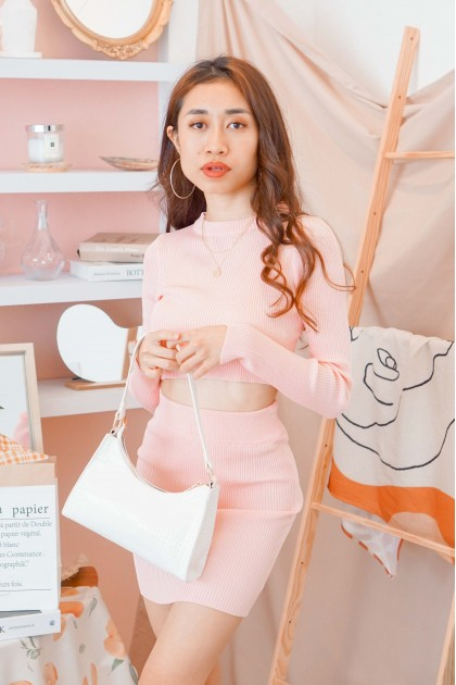 Soft Girl 2 Piece Knit Set in Pink