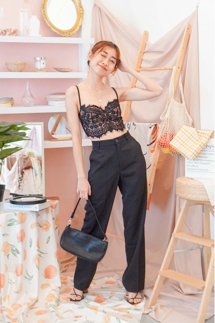 Counting Blessings Lace Bralet in Black