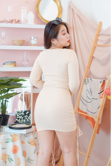 Rewriting Rules Ruched Bodycon Dress in Nude