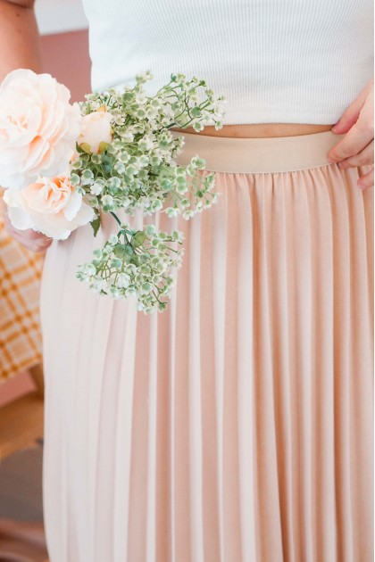 Grace At Heart Pleated Skirt in Nude