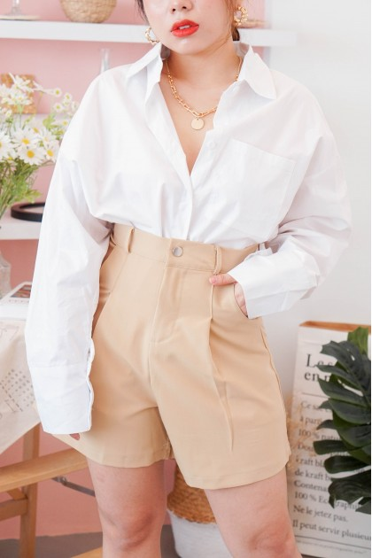 Far Too Good Button Down Top in White