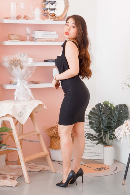 Mercy Love Self Tied Ruched Dress in Black