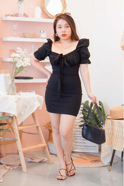 Kisses Back Bodycon Dress in Black
