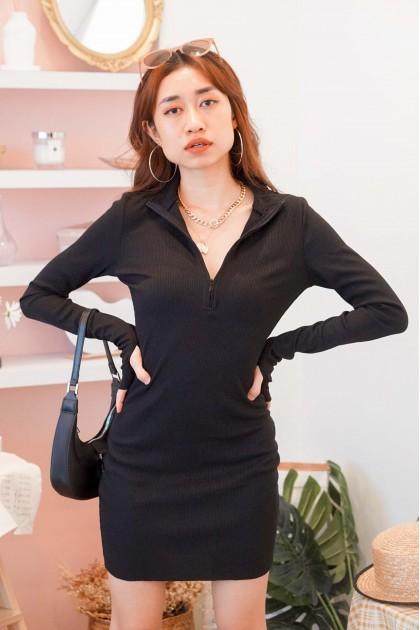 (BACKORDER) Nine9 High Neck Bodycon Dress in Black