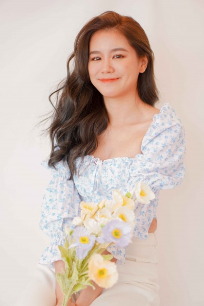 My Evermore Floral Puffy Sleeves Top in Blue