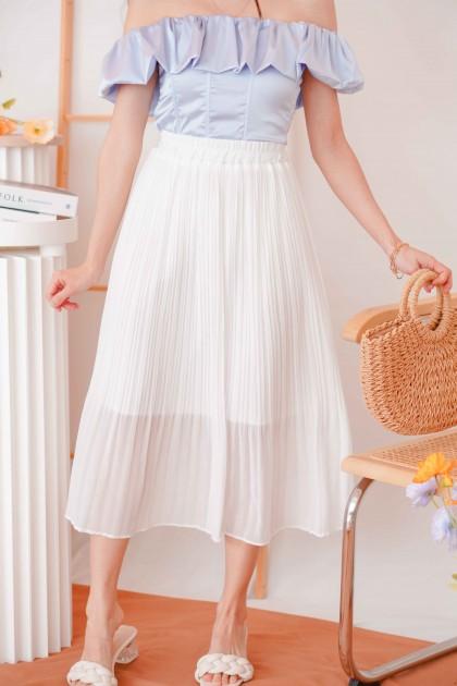 Purer Days Chiffon Midi Skirt in White