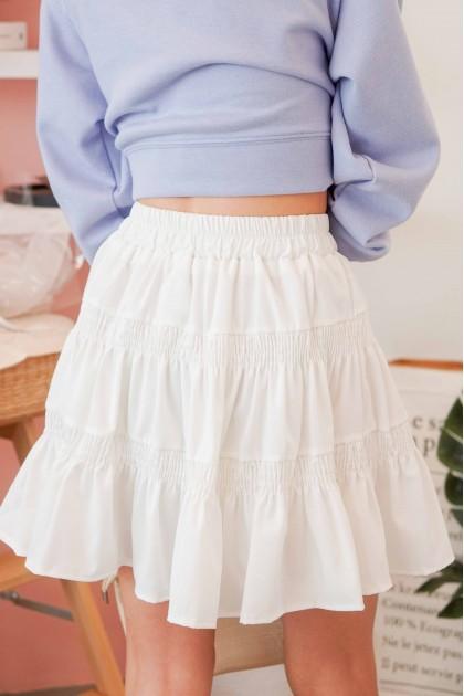Fickle Heart Layered Skater Skirt in White