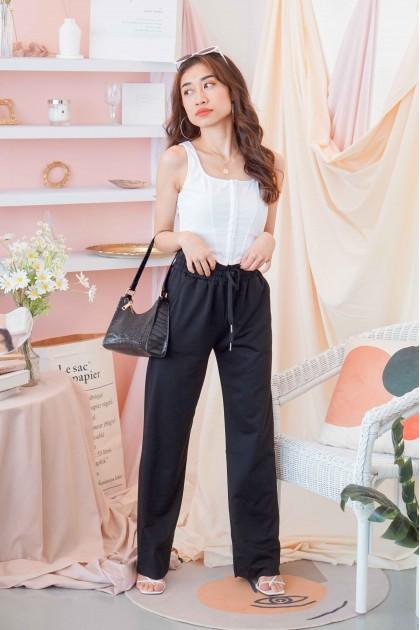 LA Girl Wide Legged Sweatpants in Black