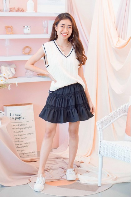 Fickle Heart Layered Skater Skirt in Black