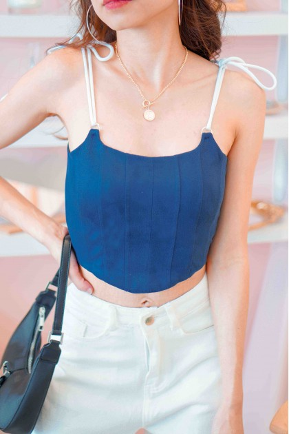 Gone Rogue Corset Top in Blue