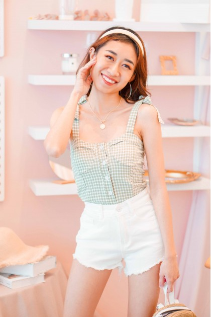 Fond Hopes Gingham Self Tied Top in Green