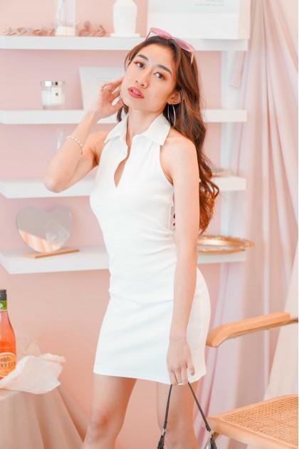 Girl Can Halter Collar Dress in White