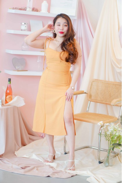 Blessed Things Self Tied Midi Dress in Yellow