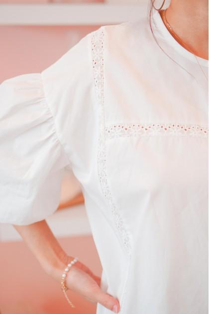 (BACKORDER) Areum Puffy Crochet Dress in White