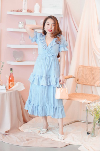 Heart of Vernice Self Wrap Layered Dress in Blue
