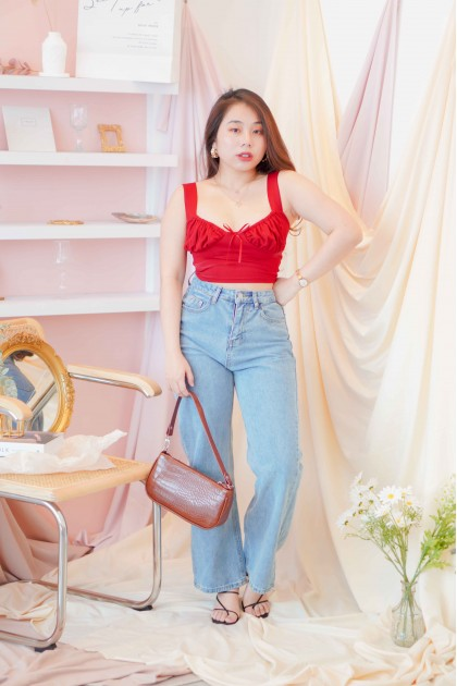 True Lovers Ruched Crop Top in Red
