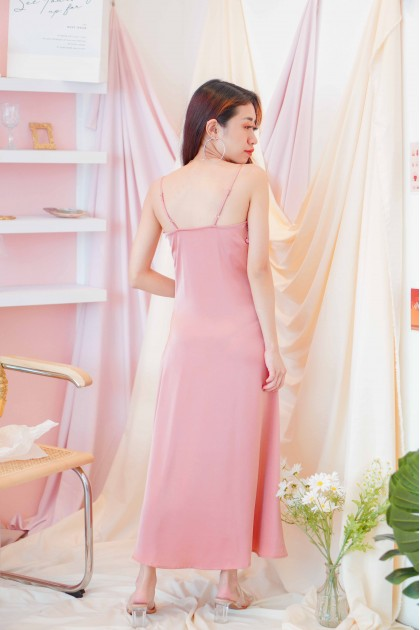 Paris Rain Satin Midi Dress in Pink