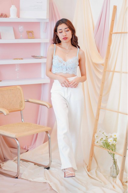 Blessed Damsel Eyelet Lace Bralet in Blue