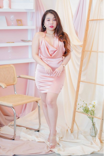 Sparkle On Cowl Neck Dress in Pink