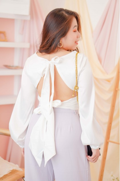 Royal Regards Knot Satin Top in White