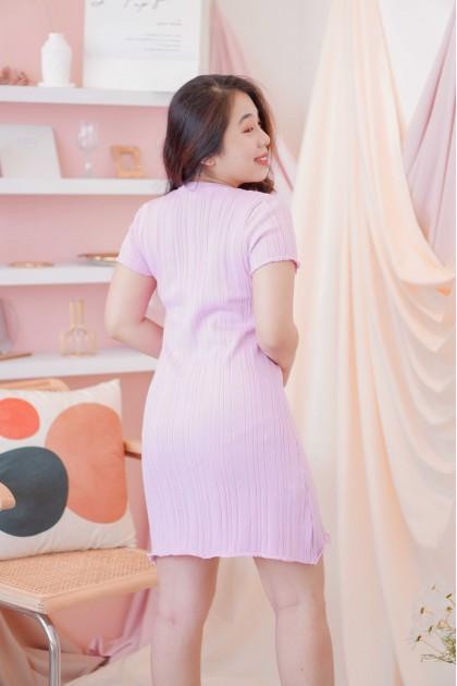 Melly Knit Shift Dress in Purple