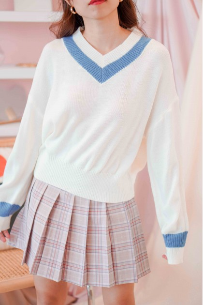 Yale Morning Knit Sweater with Blue Stripes