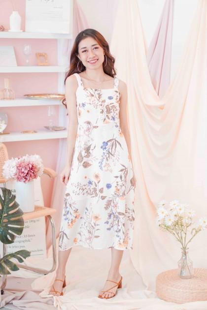 Sound of Spring Floral Midi Dress in Cream