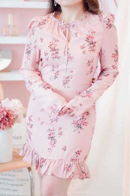 Lunar Wishing Long Sleeve Floral Dress in Pink