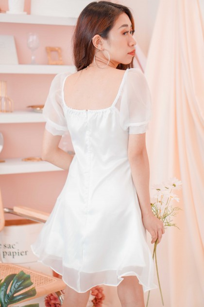 (BACKORDER) Kiss My Peace Mesh Dress in White