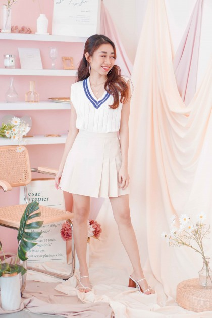 (BACKORDER) Geeky Chic Knit Vest in White with Stripes