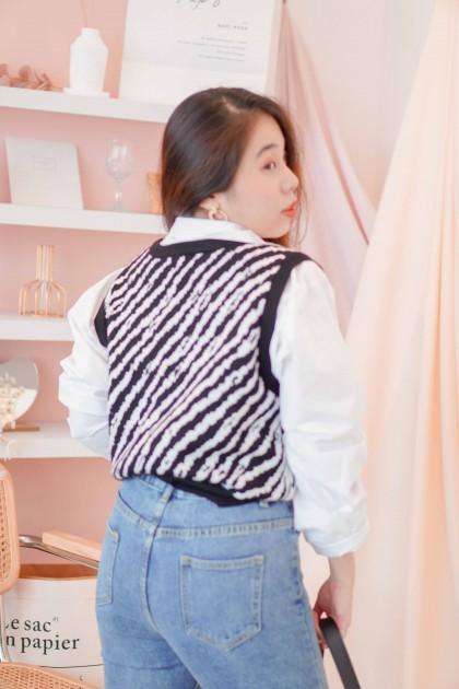(BACKORDER) Under Radar Knit Vest in Zebra Print