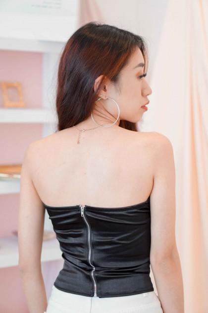 (BACKORDER) Heart Turner Lace Bustier Top in Black