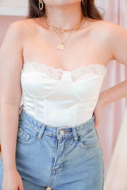 Heart Turner Lace Bustier Top in White